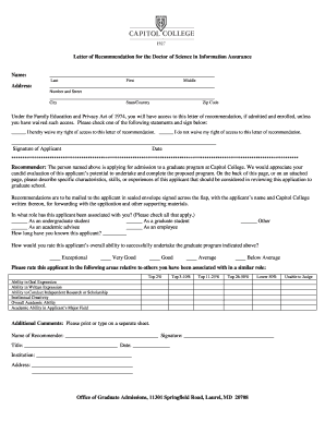 capitol college letter of recommendation form