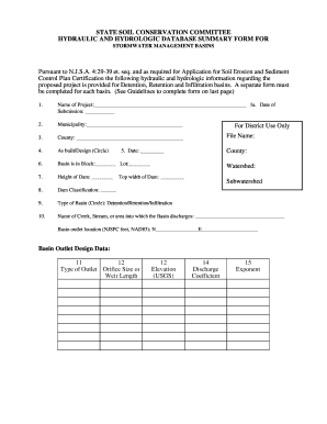 hydraulic and hydrologic database summary form