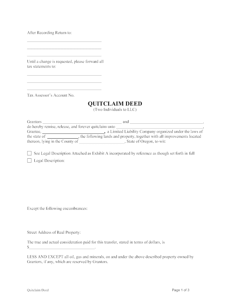 quick claim deed form oregon  Quit Claim Deed Oregon - Fill Online, Printable, Fillable ...
