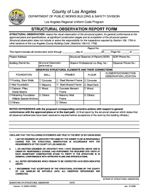 Structural Observation Form City Of Los Angeles - Fill Online ...