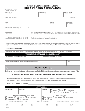 library card form fill online printable fillable blank pdffiller