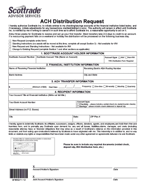 Scottrade Ira Ach Form Fill Online Printable Fillable Blank