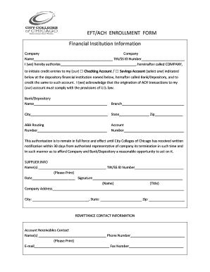 Fillable Online ccc EFT/ACH ENROLLMENT FORM Financial Institution ...