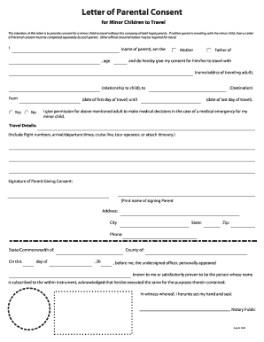 for minor children to travel letter travel form