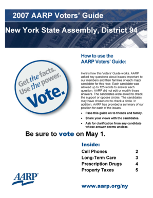 2007 AARP Voters Guide New York State Assembly, District 94 How to use the AARP Voters Guide: Here s how this Voters Guide works - aarp