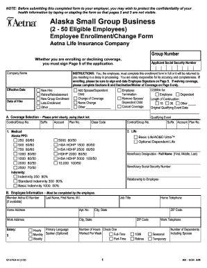 Aetna small group enrollment form - Edit Online, Fill Out ...