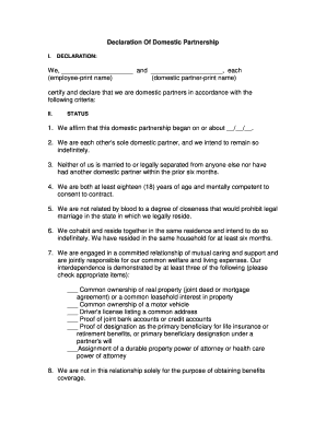 Fillable Online Declaration Of Domestic Partnership Aetna