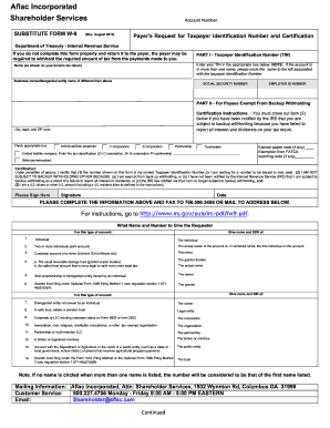 Aflac W9 Formpdffillercom - Fill Online, Printable, Fillable ...