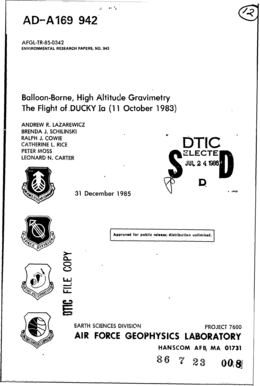 Balloon-Bome, High-Altitude qGvi -y The Flight Of - DTIC - dtic