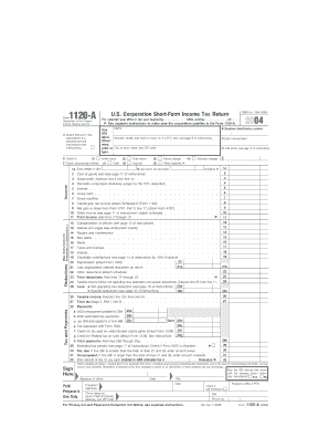 2004 Form 1120-A. U.S. Corporation Short-Form Income Tax Return - irs