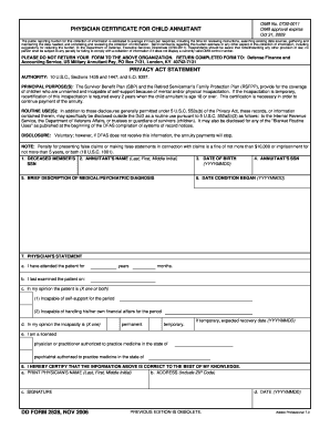 certificate for child annuitant form 2828