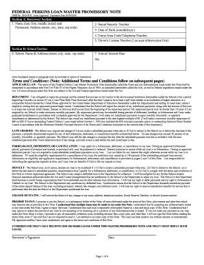 Ifap Perkins Loan Master Promissory Note Form