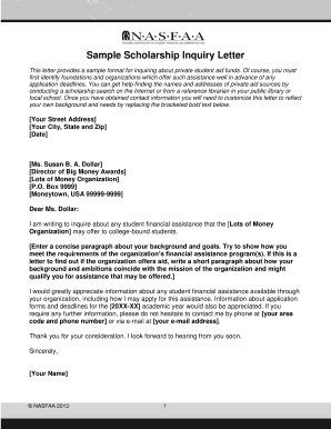 scholarship inquiry letter format fill online printable fillable