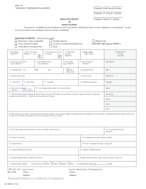 work comp first report of injury form