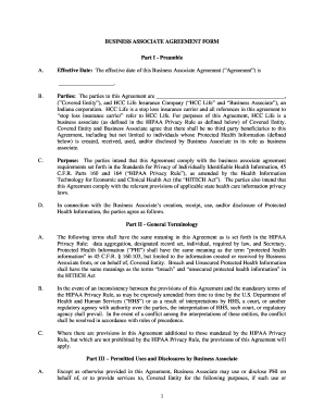 30 Printable Business Associate Agreement Forms and