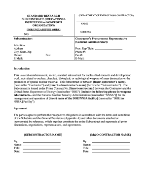 standard research subcontract educational institution or nonprofit organization form