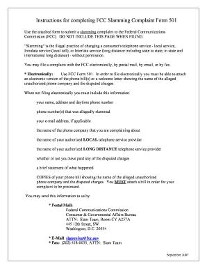Fcc Slamming Complaint Form 501 - Fill Online, Printable, Fillable ...