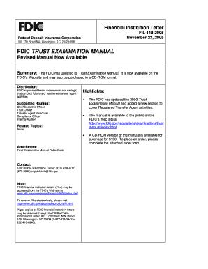 fillable online fdic fdic trust examination manual fdic fax email rh pdffiller com fdic exam manual bsa fdic exam manual for mla
