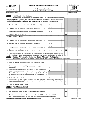 Fillable Online irs 1995 Form 8582. Passive Activity Loss ...