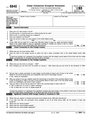 Fillable Online irs Form 8840 beginning Closer Connection ...