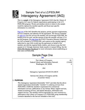 Fillable Online Loc Lc Fedlink Sample Interagency Agreement