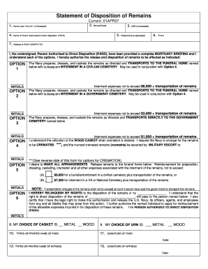Navy Disposition Of Remains Form - Fill Online, Printable ...