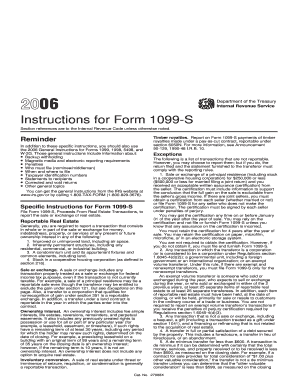 Fillable Online irs 2006 Instruction 1099-S. Instructions for Form ...