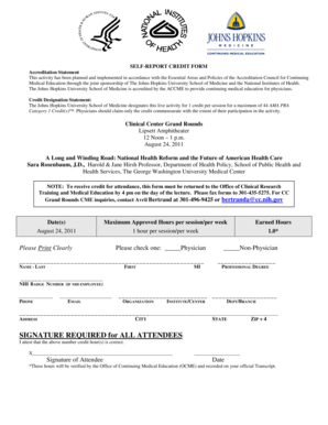 Fillable Online Cc Nih CME Form 08242011 Grand Rounds Self Report