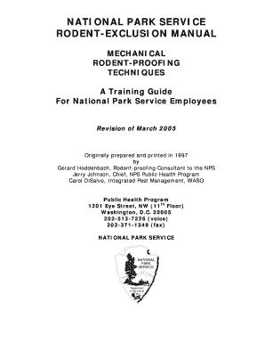 fillable online nps nps rodent exclusion manual national park rh pdffiller com national park service uniform manual national park service reference manual 32