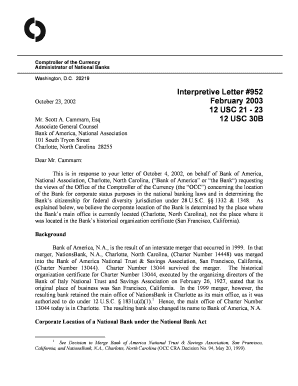 Fillable Online Interpretive Letter 952  Bank of America