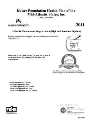 Kaiser Foundation Health Plan Of The Mid Atlantic Claim Form ...