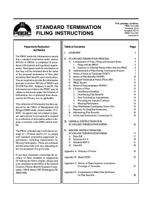 Fillable Online pbgc Form 500 Instructions. Standard Termination ...