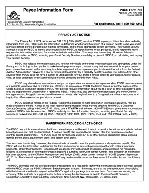 Pbgc Form701 - Fill Online, Printable, Fillable, Blank | PDFfiller