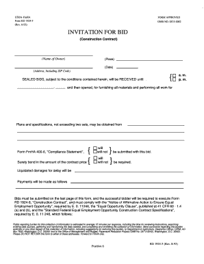 invitation to bid construction forms and templates fillable