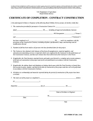 certificate of completion construction Forms and Templates