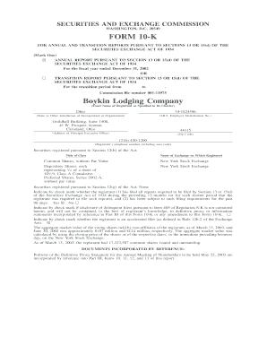 Fillable Online sec FORM 10-K Boykin Lodging Company - SEC - sec ...