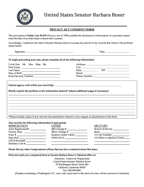 Privacy Consent Form  Blank Consent Form