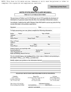 Wonderful Privacy Act Release Form Mccaskill