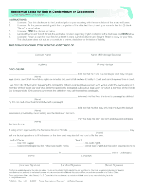 florida lease agreement condo pdf form