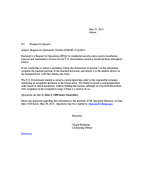 Sample Cover Letter For Rfq - Fill Online, Printable, Fillable