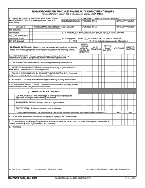 NONAPPROPRIATED FUND INSTRUMENTALITY EMPLOYMENT INQUIRY. DA FORM 3439, JAN 2002 - armypubs army
