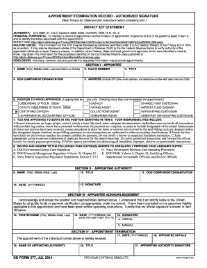 Fillable Online benning army DD Form 577, Appointment ...
