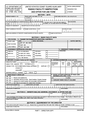 Fillable Online uscg Radio Facility Inspection And Offer For Use ...