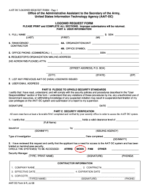 aait dc logonid request form