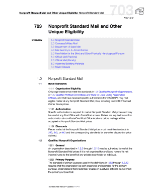 nonprofit standard mail and other unique eligibility form