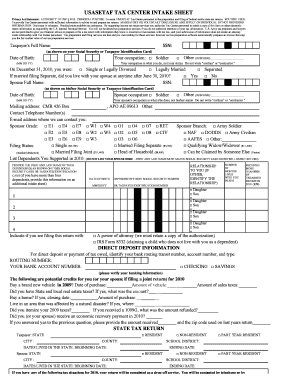 2012 income tax intake sheet form
