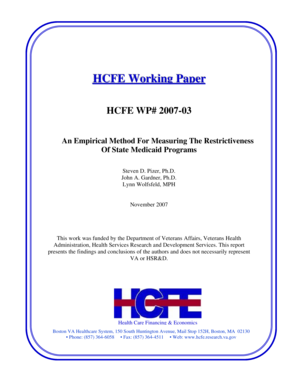 HCFE Working Paper HCFE WP# 2007-03 An Empirical Method For