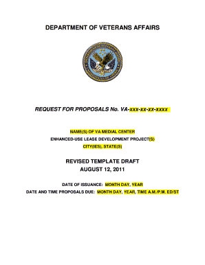 VA Enhanced Use Lease Sample Document. Request for Proposals Draft - va