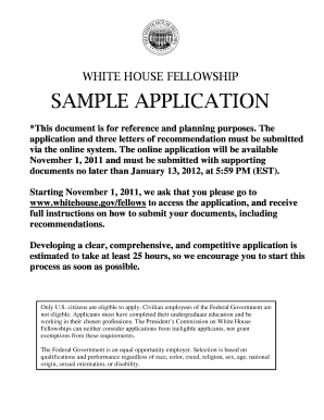 White House Fellowship 2013 Sample Application Recommendations ...