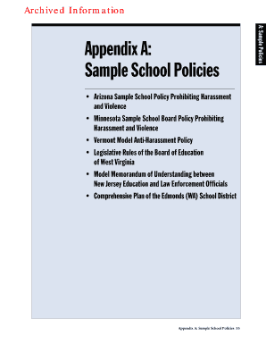 Appendix A: Sample School Policies - U.S. Department of Education